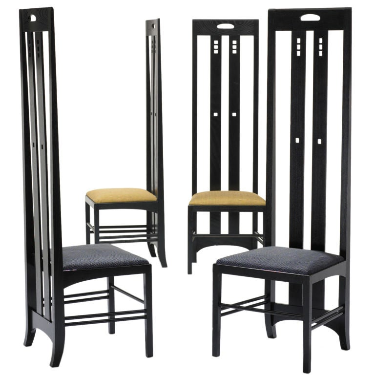 ingram street tea room chairs pair by charles rennie mackintosh at 1stdibs. Black Bedroom Furniture Sets. Home Design Ideas