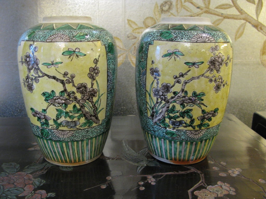 A pair of Chinese 19th century bisque jars with floral and bird design in panels, surrounded by vines, flowers and scrolling borders. With striped borders at base and lids.    Colors are yellow, green, grey, blue, white and black.