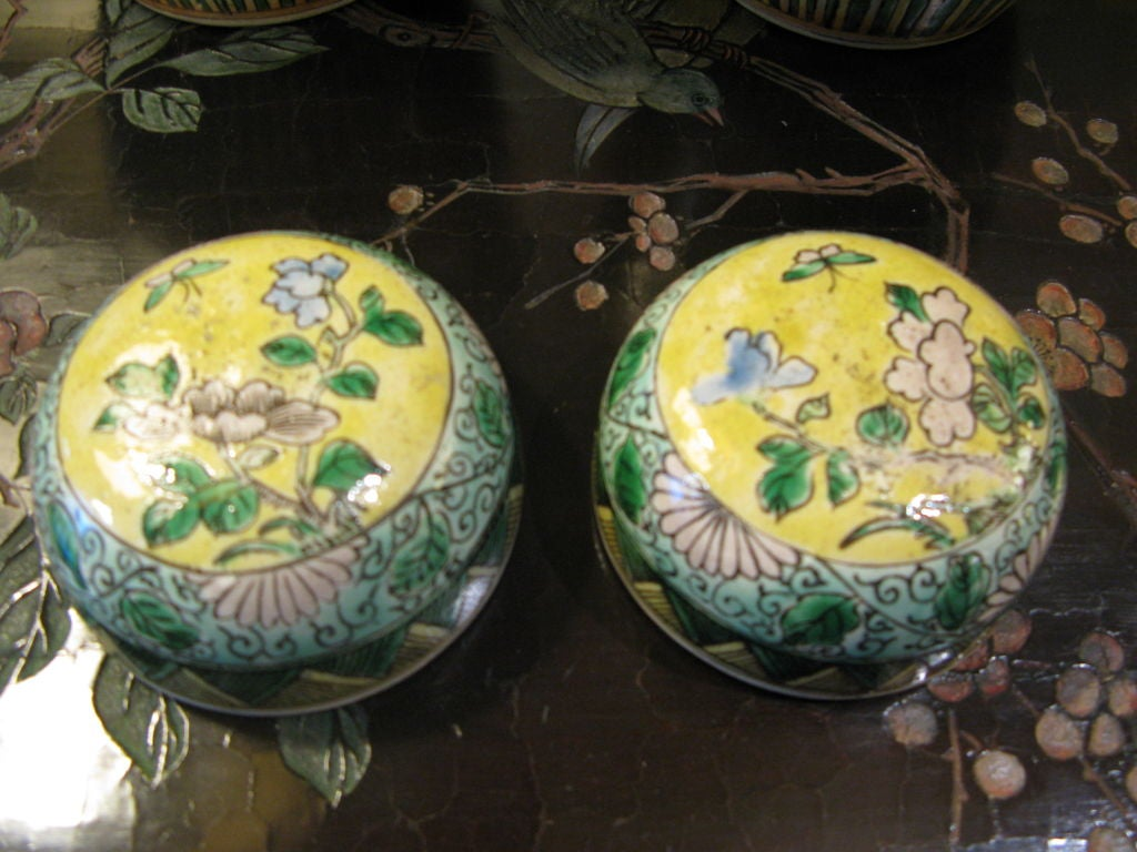 Pair of Chinese 19th Century Bisque Jars with Lids In Excellent Condition For Sale In New York, NY