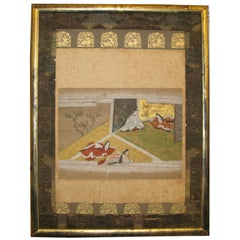 "19th Century Japanese ""Tales of Genji"" Framed Painting"