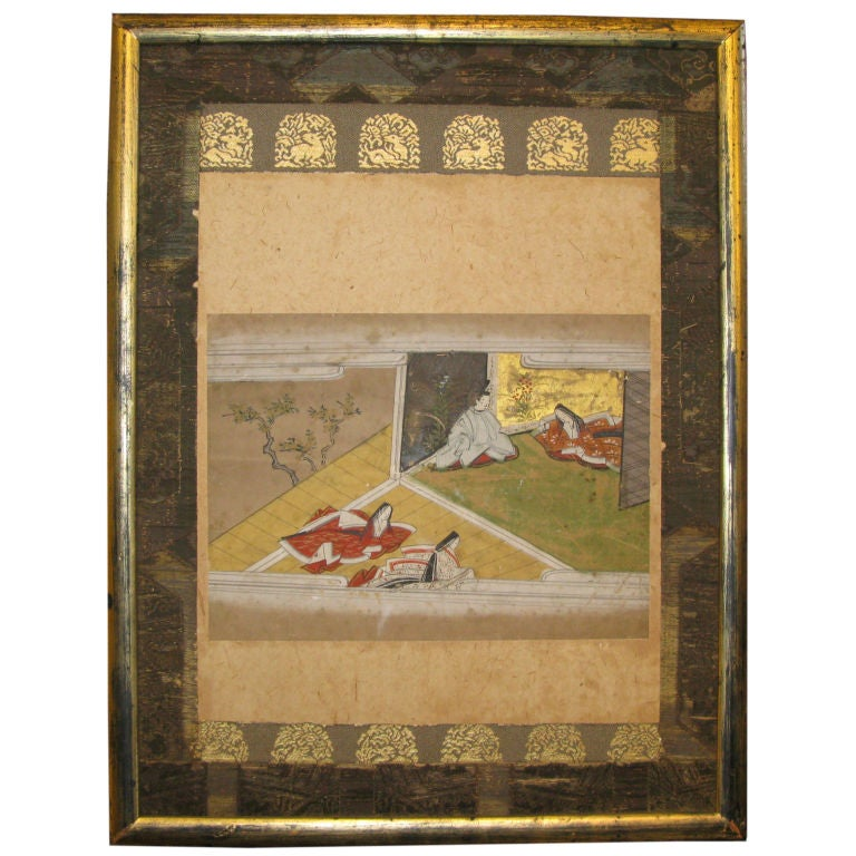 """19th Century Japanese """"Tales of Genji"""" Framed Painting For Sale"""