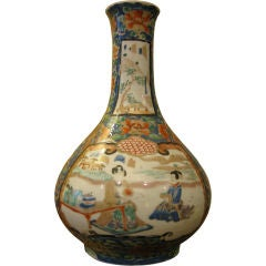 Antique Japanese Kutani Bottle Shaped Vase