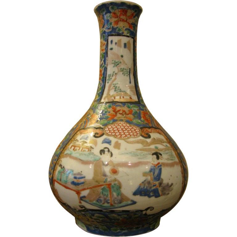 Antique Japanese Kutani Bottle Shaped Vase