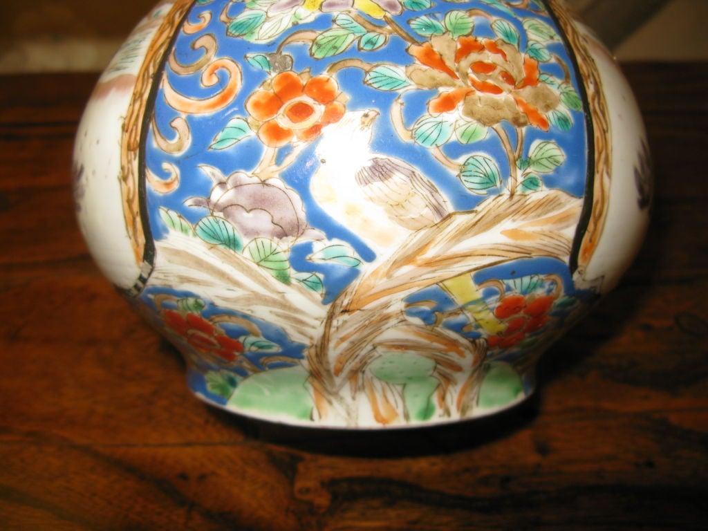 Porcelain Antique Japanese Kutani Bottle Shaped Vase For Sale