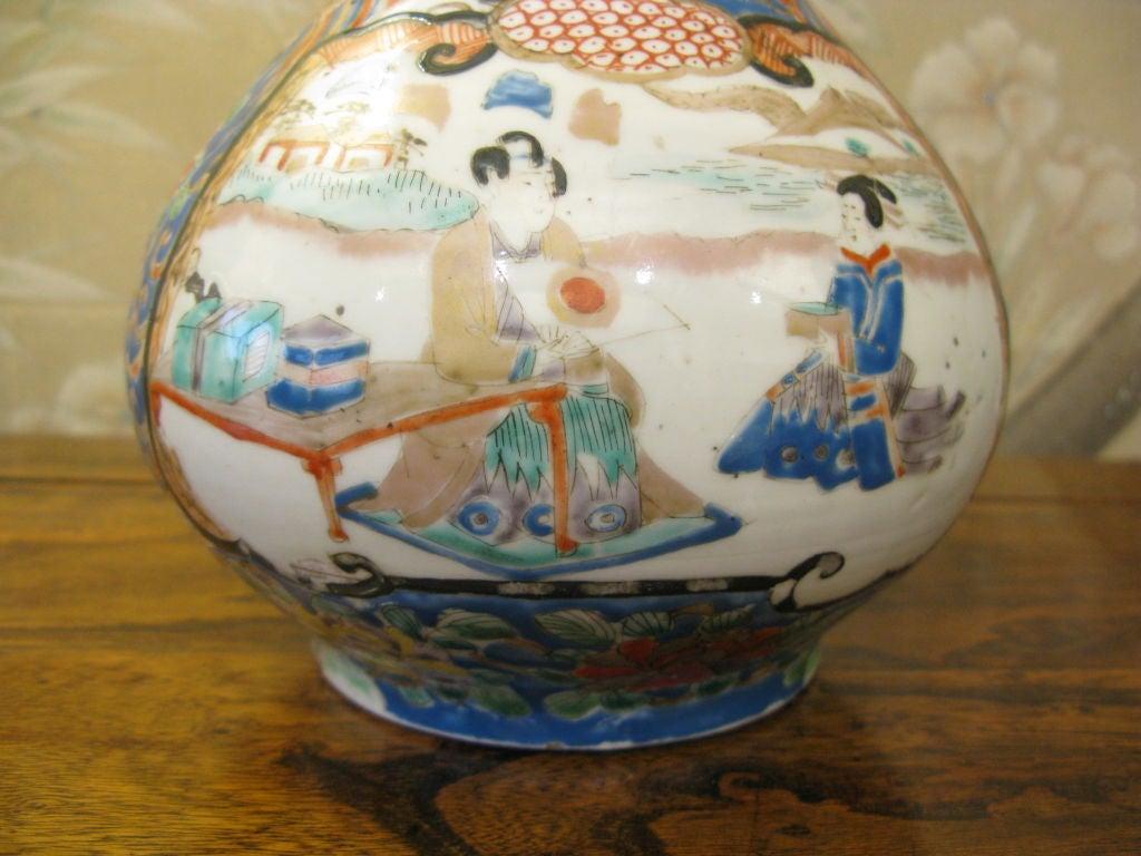Antique Japanese Kutani Bottle Shaped Vase For Sale 1