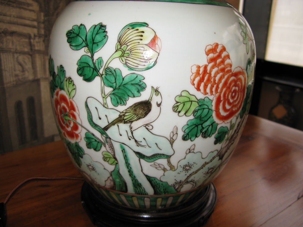 Antique Chinese Ginger Jar, Mounted as Lamp In Good Condition For Sale In New York, NY