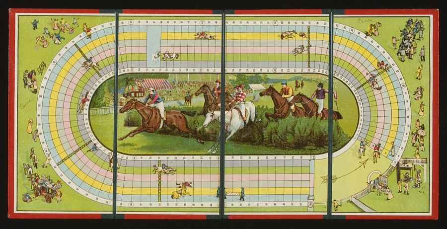 STEEPLE CHASE RACE HORSE BOARD GAME, 1985-1920: image 2