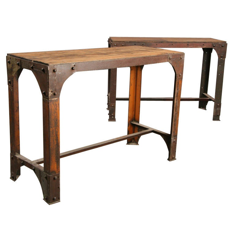 industrial butcher s block table at 1stdibs