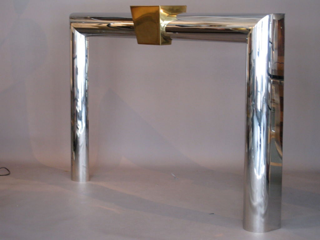 1970 39 S Stainless Steel And Brass Fireplace Mantel At 1stdibs