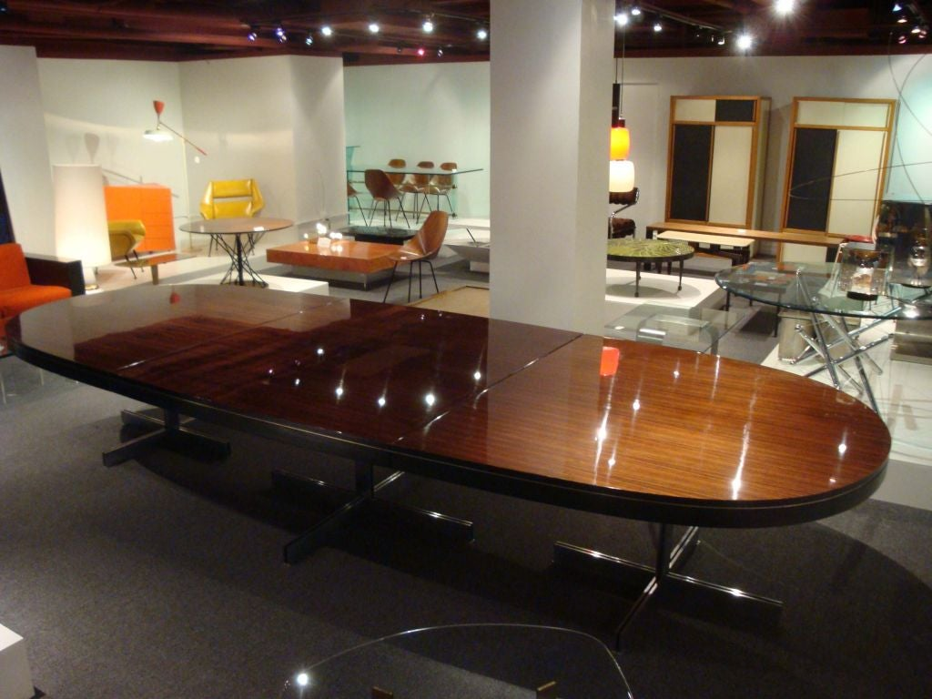 Large Oval DIning Table In Macassar Ebony At 1stdibs