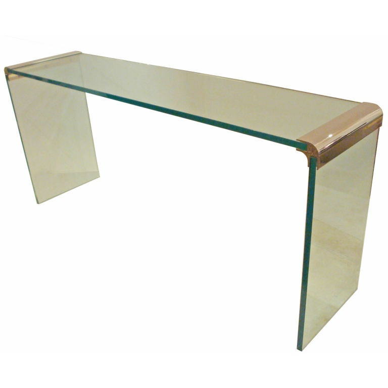 A Long All Glass Console Table By Pace Collection At 1stdibs