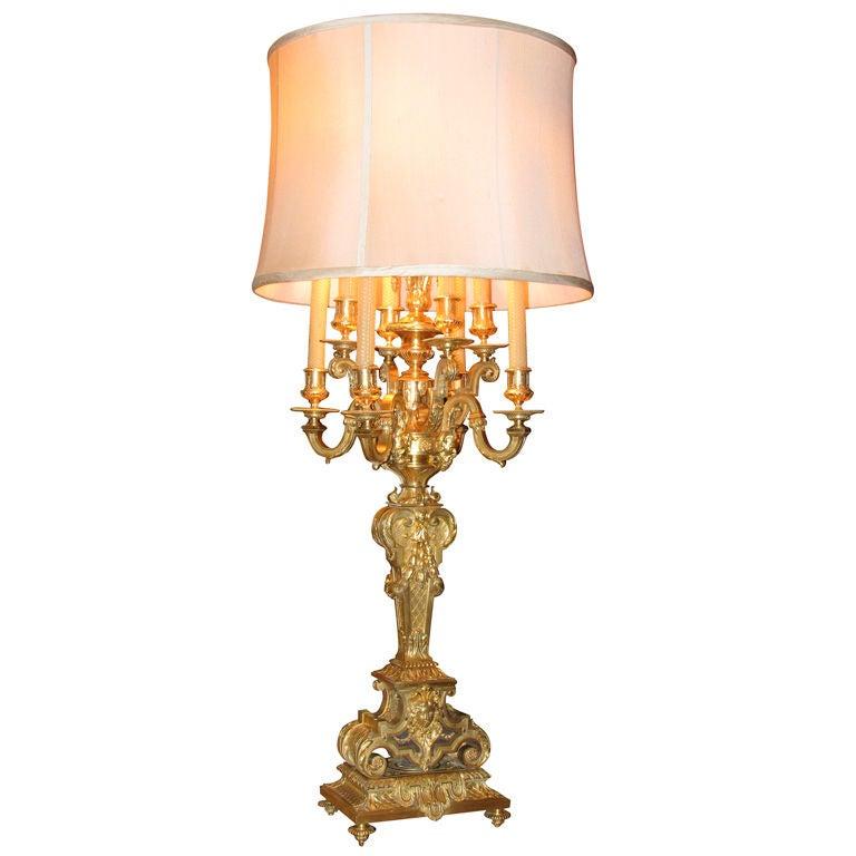 Louis Xiv Style Bronze Dor 233 Candelabra Lamp At 1stdibs