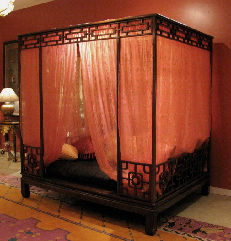 Exotic chinese 4 poster bed at 1stdibs for Asian wedding bed decoration