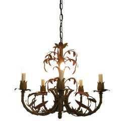Faux Bamboo Tole  Chandelier