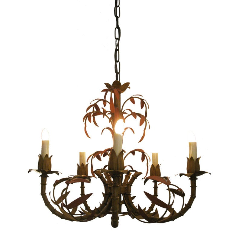 Faux Bamboo Tole Chandelier For Sale at 1stdibs