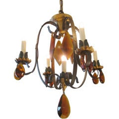 1950s Iron and Amber  Crystal Chandelier