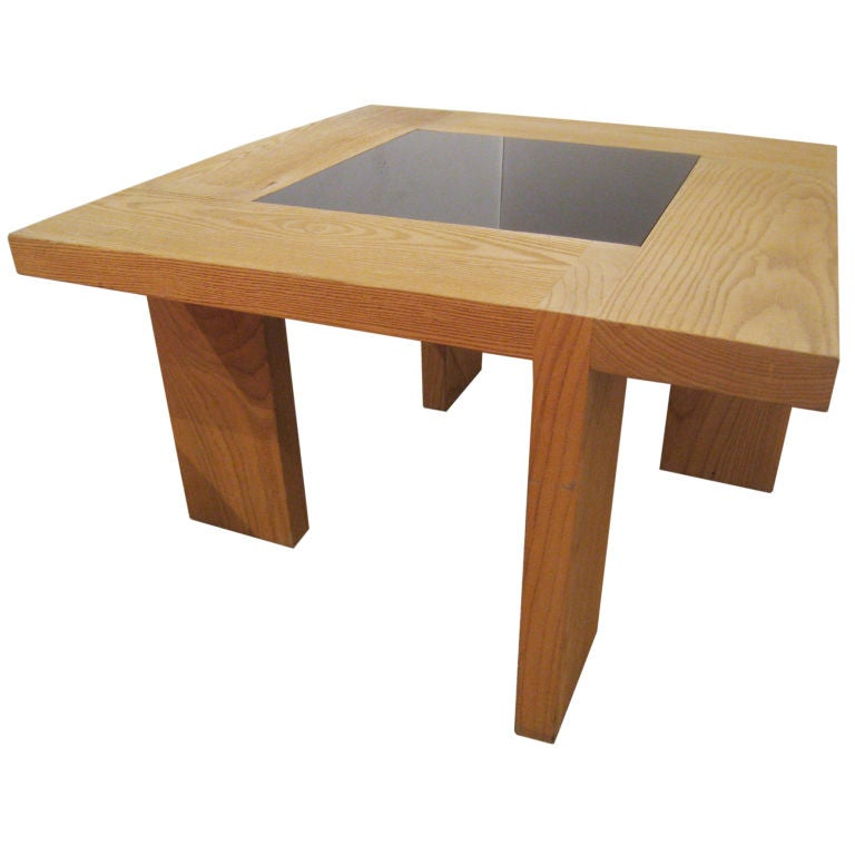 Modernist Wood and Glass Cocktail Table