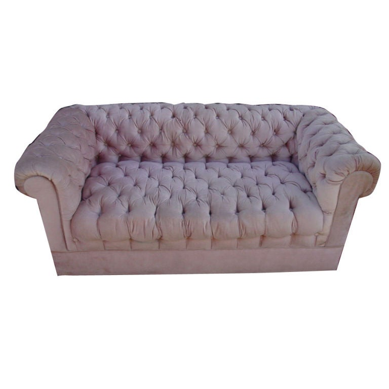 Fabulous PInk Velvet Chesterfield Sofa at 1stdibs