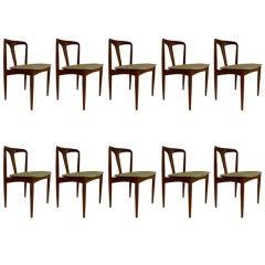 """Set of Ten """"Juliane"""" Dining Chairs by Johannes Andersen"""