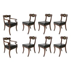 A very fine set of eight Regency dining chairs.