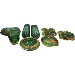Various Green Murano Glass Pieces