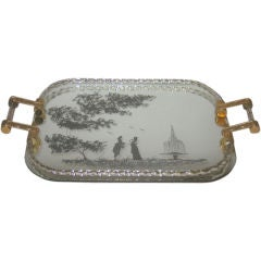 1940's Italian Mirrored Tray with Etched Details