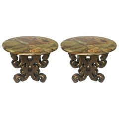 Pair of Onyx Topped Pedestal Base Side Tables