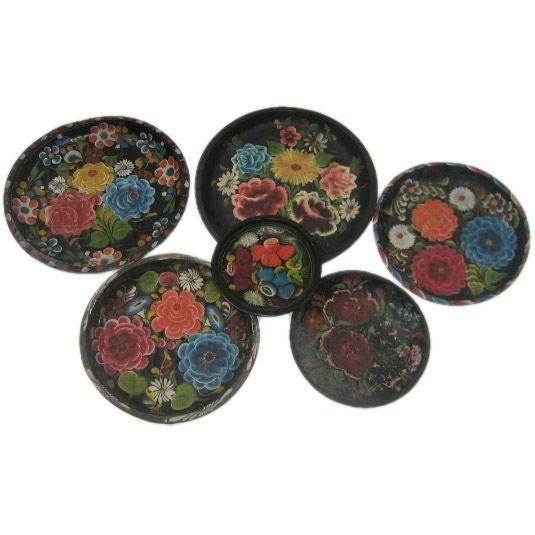Vintage Hand-Painted Mexican Batea Wooden Tole Bowls