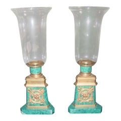 Pair Of Faux Malachite and Bronze Hurricane Candle Holders