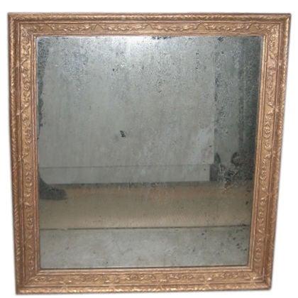 Vintage 22k Gold Leaf Mirror with Antiqued Glass at 1stdibs