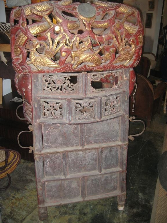 Intricately Carved Chinese Sedan Chair with Intertwined Dragons 6