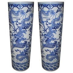 Pair of Oversized Chinese Cylindrical Jars