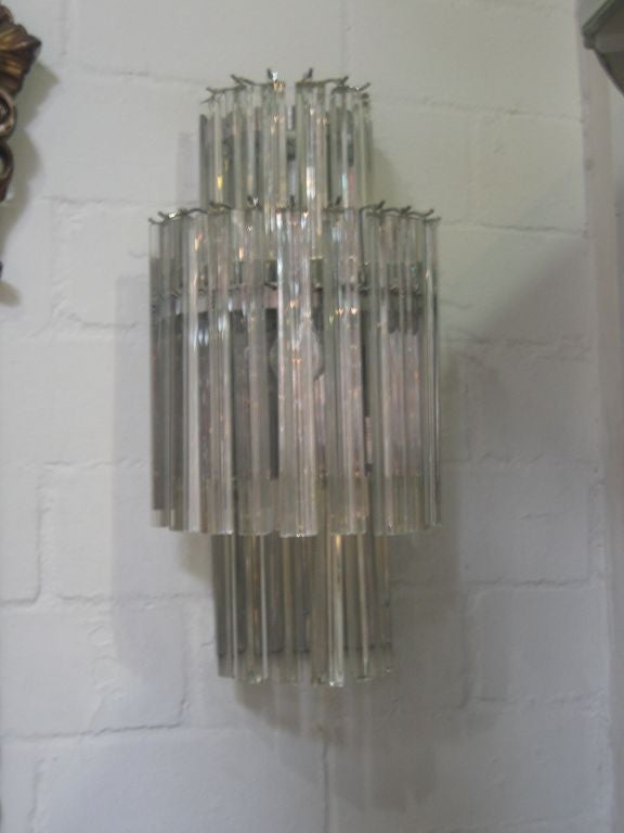 Vintage Crystal Wall Sconces : Pair of Vintage Crystal Wall Sconces at 1stdibs