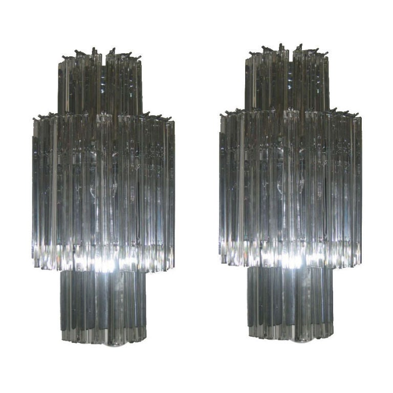 Wall Sconces Crystal : Pair of Vintage Crystal Wall Sconces at 1stdibs