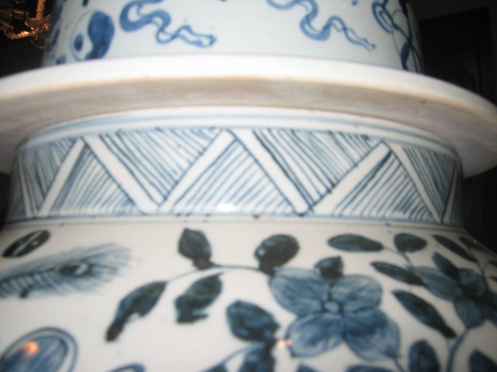 Pair of Vintage Blue and White Chinese Temple Jars with Lids 4
