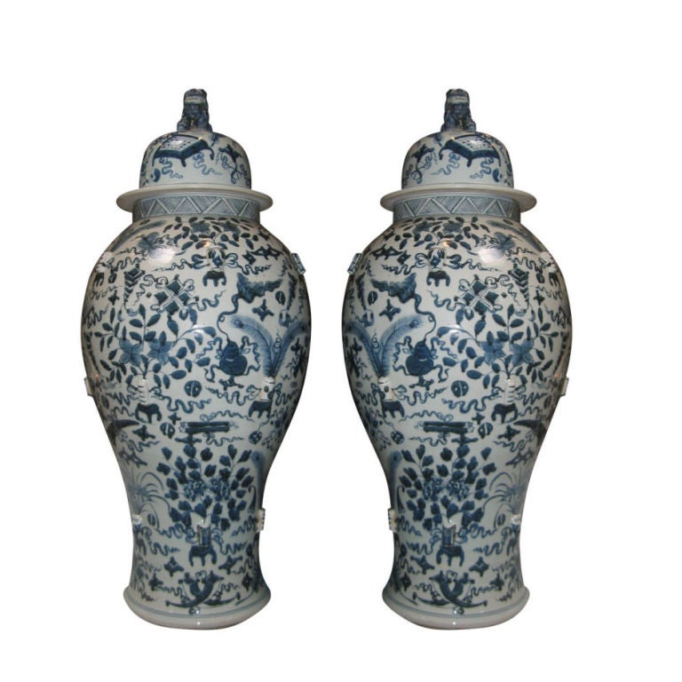 Pair of Vintage Blue and White Chinese Temple Jars with Lids 1