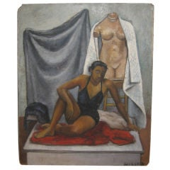 Oil Painting by Miller of an African American Artist's Model