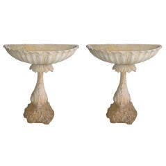 Pair of Concrete Fountain Basins