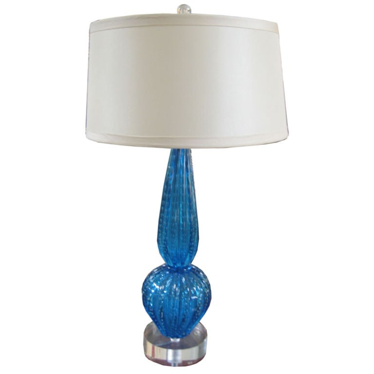 sea blue murano glass lamp on acrylic base. Black Bedroom Furniture Sets. Home Design Ideas