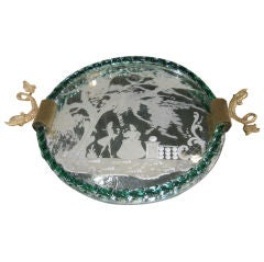 Venetian Etched Mirror Serving Tray