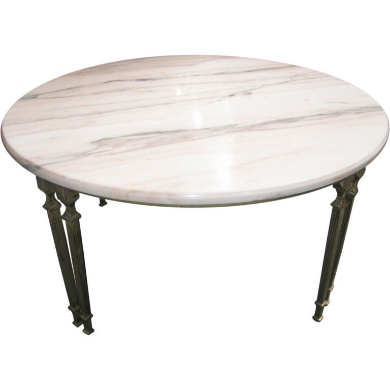 Round marble top coffee table with bronze supports at 1stdibs Coffee tables with marble tops