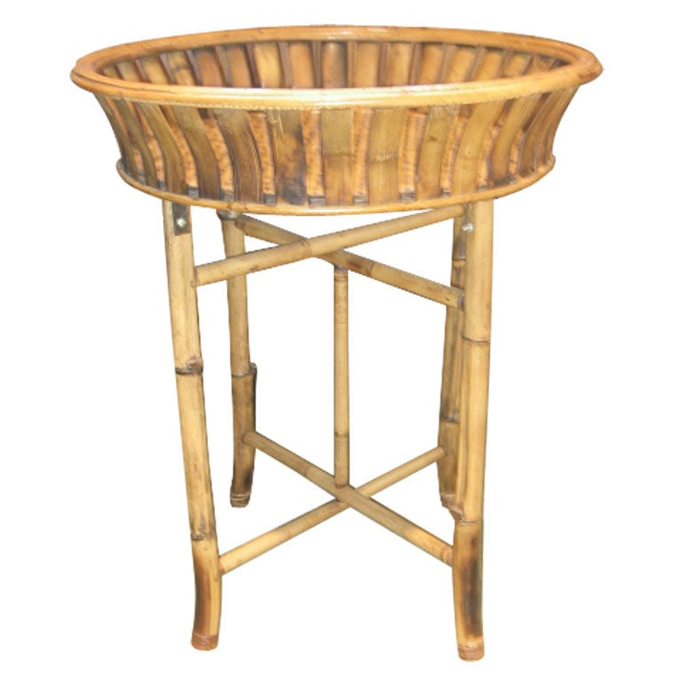 Bamboo Plant Stand with Large Woven Basket Top 1