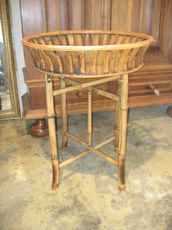 Bamboo Plant Stand with Large Woven Basket Top 2