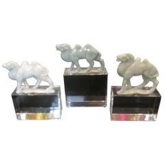 Han Dynasty Style Jade Camels on Acrylic Bases