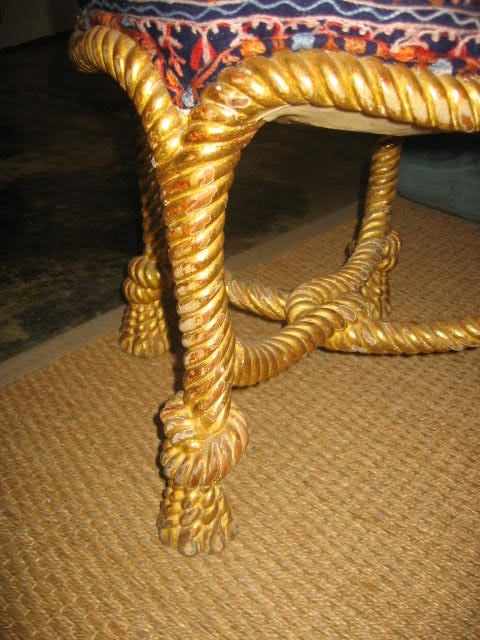 Vintage Italian Rope Chair With Tassel Feet 4