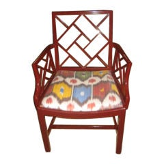 Vintage Chinese Chippendale Chair in Red Lacquer with Ikat Seat