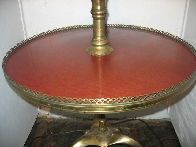 Italian Two-Tiered Table on Brass Tri-Pod Base In Good Condition For Sale In Dallas, TX