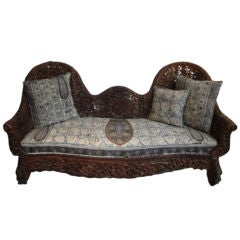 Indian Floral Carved Sofa with Cushion