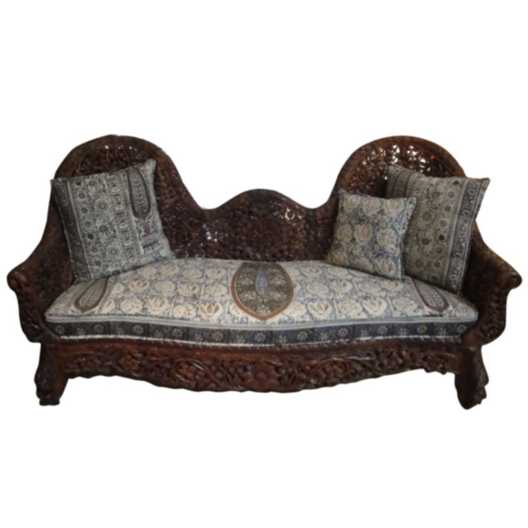 Settee Sofa Furniture Prices In India: Indian Floral Carved Sofa With Cushion At 1stdibs