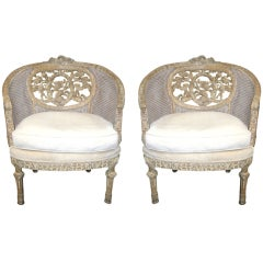 Pair of 19th Century Wood-Carved French Chair